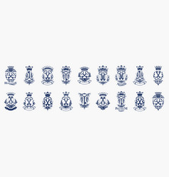 Keys logos big set vintage heraldic turnkeys vector