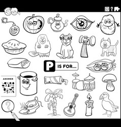 Letter p educational task coloring book page vector
