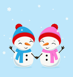 little cheerful snowboy and snowgirl greating vector image