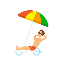man wearing shorts and glasses sunbathing vector image