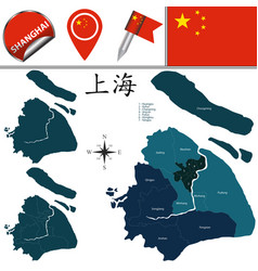 Map of shanghai with districts vector