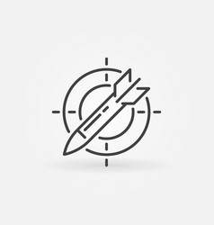 Missile in target outline icon concept vector