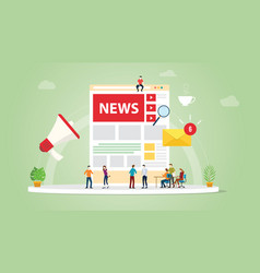 news update concept with team people and website vector image