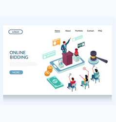 Online bidding website landing page design vector