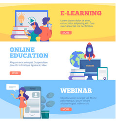 online education banners webinar web school vector image