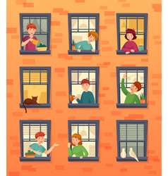 people in windows frames communicating neighbors vector image