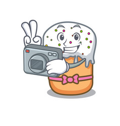 Photographer easter cake mascot cartoon vector