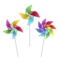 pinwheel toy set rotation paper kids joy vector image