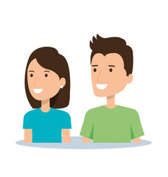 portrait couple character of young man and woman vector image