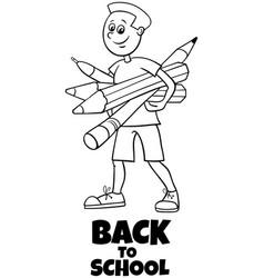 pupil boy back to school cartoon coloring book vector image