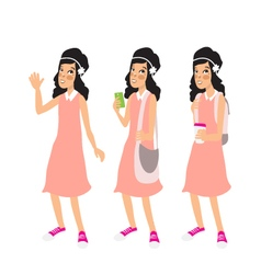 Retro Caucasian girl in the old fashioned dress vector