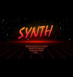 Retrowave synthwave vaporwave orange gradient font vector