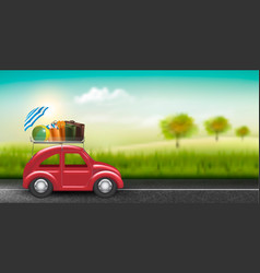 road trip concept red car with baggage in vector image vector image
