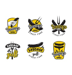 Sausage grill logo set vector