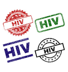 scratched textured hiv stamp seals vector image