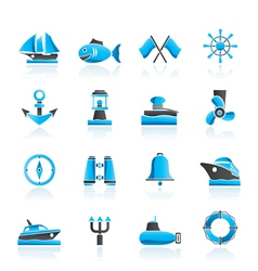 Sea and nautical icons vector