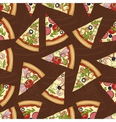 seamless pattern scetch with four types pizza vector image