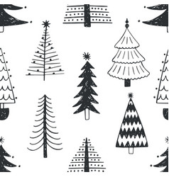 Seamless pattern with various christmas trees vector