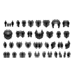 set different crowd silhouettes with simple vector image