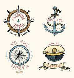 set engraved vintage hand drawn old labels vector image