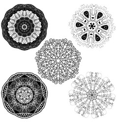Set from five round mandalas vector