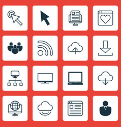 Set of 16 world wide web icons includes computer vector