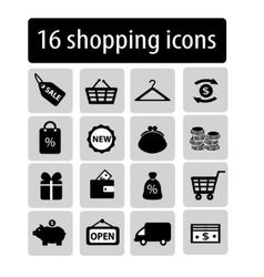 Set of black shopping icons vector