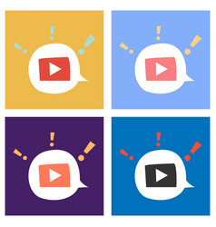 Set of flat play logo icon buttonyoutube flat vector