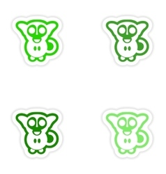 Set paper stickers on white background little vector