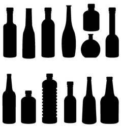 silhouette of bottle set vector image