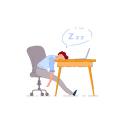 sleeping worker isolated exhausted worker vector image
