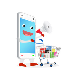 smartphone with megaphone and shopping cart vector image