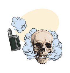 Smoke coming out of fleshless skull and vape vector