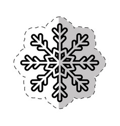 snowflakes winter ornament cut line vector image