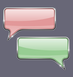Speech bubbles pink and green 3d icons with vector