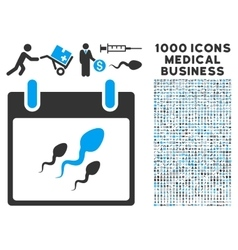 Sperm calendar day icon with 1000 medical business vector