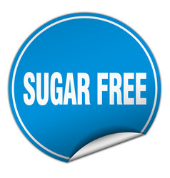 Sugar free round blue sticker isolated on white vector