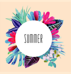 summer floral round print vector image