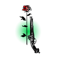 Tattoo an antique pistol and a rose vintage vector