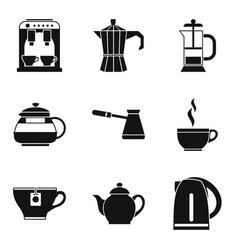 tea with milk icons set simple style vector image vector image