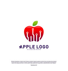 tech apple logo design concept fast apple vector image