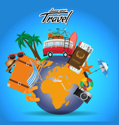 travel and tour poster design around the world vector image