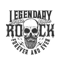 tshirt print with bearded skull mascot vector image