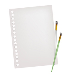 Two Artist Brushes with A Blank Page vector image