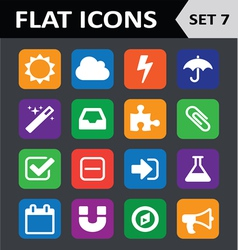Universal Colorful Flat Icons Set 7 vector image
