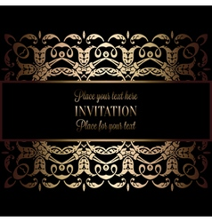 Vintage gold invitation or wedding card on black vector