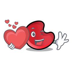 with heart candy moon mascot cartoon vector image