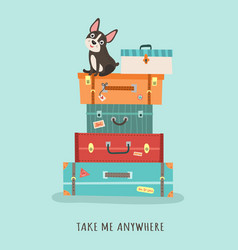 With suitcases travel vector
