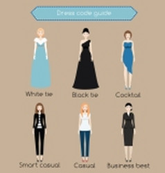 Woman dress code infographic from white tie to vector