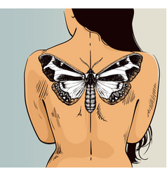 Woman with butterfly tattoo on her back vector